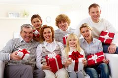 Family with gifts Royalty Free Stock Photography