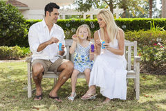 Family Girl Child Daughter Blowing Bubbles Stock Photography