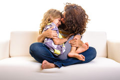 Family girl mother play at home Royalty Free Stock Photo