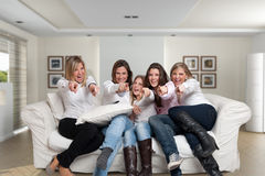 Family girls fun pointing Stock Images