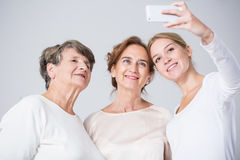 Family girls taking selfie Royalty Free Stock Images