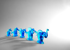 Family of glass elephants Stock Photo