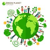 Family globe ecology Royalty Free Stock Photography