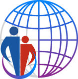 Family globe logo. Illustration art of a family globe logo with isolated background Stock Image