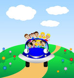 Family go by rest in blue car Stock Photo