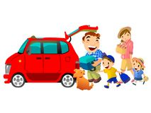 Family go to leisure by car illustration Royalty Free Stock Photos