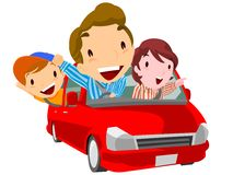 Family go to leisure by the car Royalty Free Stock Images