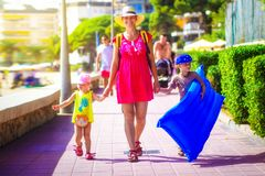 Family go to sea beach during summer vacation royalty free stock photos