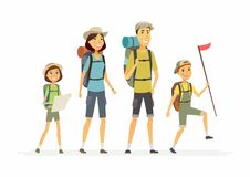 Free Family Goes Hiking - Cartoon People Characters Isolated Illustration Royalty Free Stock Photo - 105220615