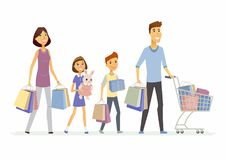 Family goes shopping - cartoon people characters isolated illustration. On white background. Smiling parents with children carrying package with goods and toys Royalty Free Stock Image