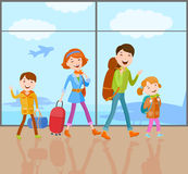 Family goes on a trip. Cartoon  family goes on a journey with a bag, a handbag, a backpack and suitcase. The family came to the airport to fly by plane Stock Photo