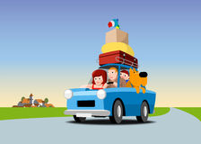 The family goes on vacation by car. Family in a blue car loaded with luggage, cartoon illustration Royalty Free Stock Photos