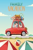 Family goes on vacation in a red classic car Royalty Free Stock Image