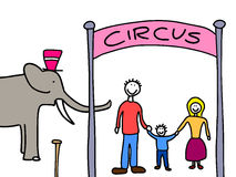 Family going to circus Royalty Free Stock Photography