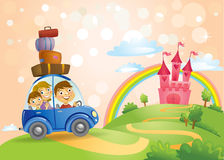 Family going to the Fairy Tale castle. Royalty Free Stock Photography