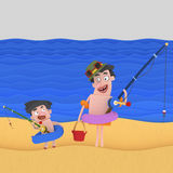 Family going to fish vector illustration