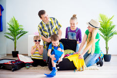 Family going to a seaside Royalty Free Stock Image