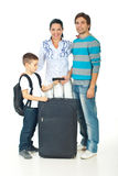 Family going to travel. Happy family with child going to travel Royalty Free Stock Photos
