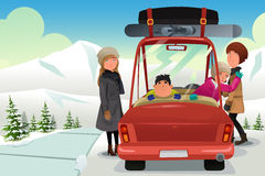 Family going to a winter holiday trip. A vector illustration of happy family going to a winter holiday trip Stock Image