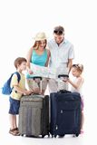 Family going on vacation. Families with children see the map on a white background Royalty Free Stock Image