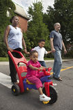 Family going for a walk. Happy mixed race family going for a walk Royalty Free Stock Photography