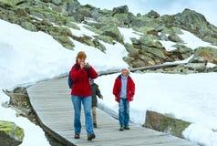 Family going on wooden flooring (Bettmerhorn, Switzerland). Family going on wooden flooring to the side Aletsch Glacier  (Bettmerhorn, Switzerland Stock Image