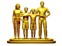 Family. Golden Family, Mother, Son, daughter and Father standing together on a pedestal Stock Image