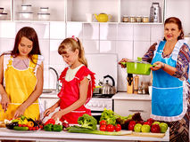Family with grandmother and child at kitchen Royalty Free Stock Photography