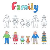Family: grandparents, parents and children. Set of elements in doodle and cartoon style. Vector. EPS 8 Royalty Free Stock Photo