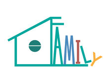 Family graphic design ,  illustration,gren house. Family graphic design ,  illustration Royalty Free Stock Images