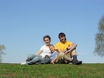 Family on grass Stock Photo