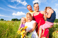 Family in grass in summer Stock Images