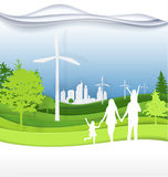 Family and green city for  life.The eco-friendly city vector  Stock Photo