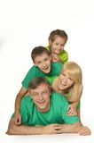 Family in a green clothes Stock Image