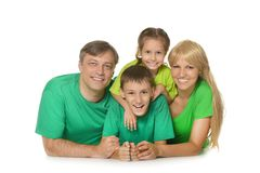 Family in a green clothes Royalty Free Stock Photo