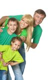 Family in a green clothes Royalty Free Stock Image