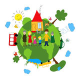 Family and green earth Stock Image