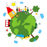 Family and green earth Royalty Free Stock Images