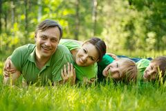 Family in the green jersey Stock Photography