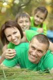 Family in green jersey Stock Images