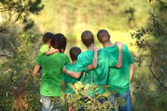 Family in the green jersey Royalty Free Stock Photo