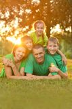 Family in green jersey Stock Photos