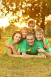Family in green jersey Stock Photo