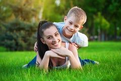 Family in a green park. picnik Stock Image