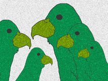 Family of green parrots. royalty free illustration