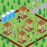 Family Grill BBQ Area in the Forest with Active People Cooking Meat and Playing Sports. Isometric City royalty free illustration