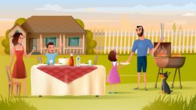 Family Grill Party on Backyard Vector Concept stock illustration