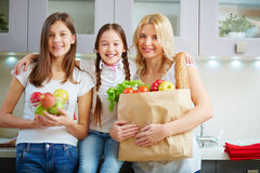 Family with groceries Stock Photography