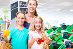 Family grocery shopping in corner shop. Mother and children selecting vegetables while grocery shopping in organic supermarket stock images