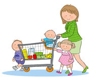 Family Grocery Shopping. Hand drawn picture of family shopping for groceries. Illustrated in a loose style. Vector eps available vector illustration